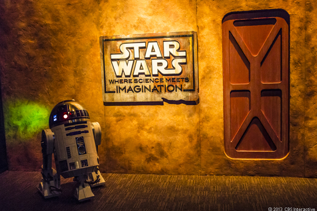 R2-D2 and exhibit sign