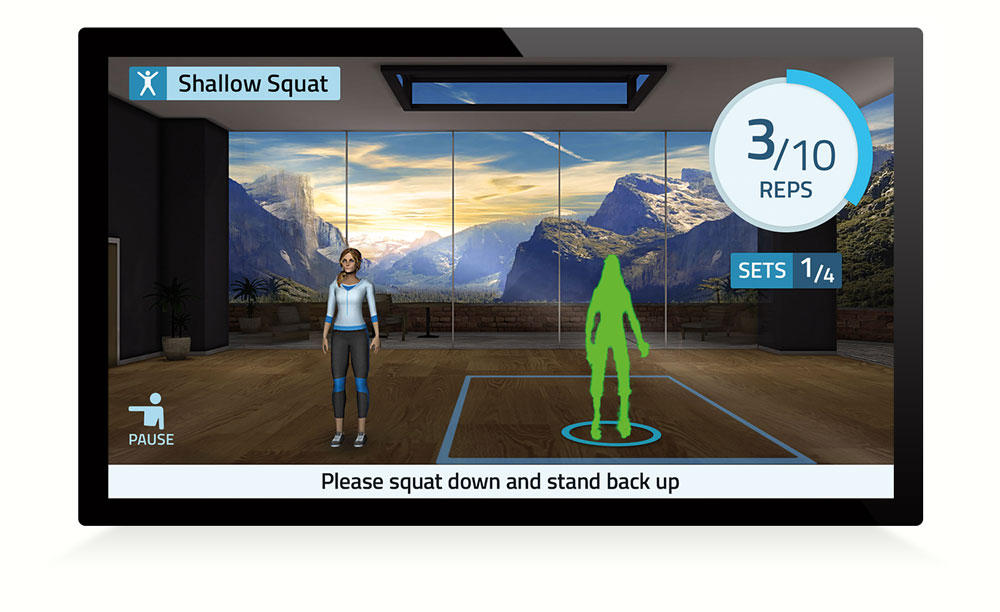 Screenshot of motion capture technology that helps people do their physical therapy exercises.