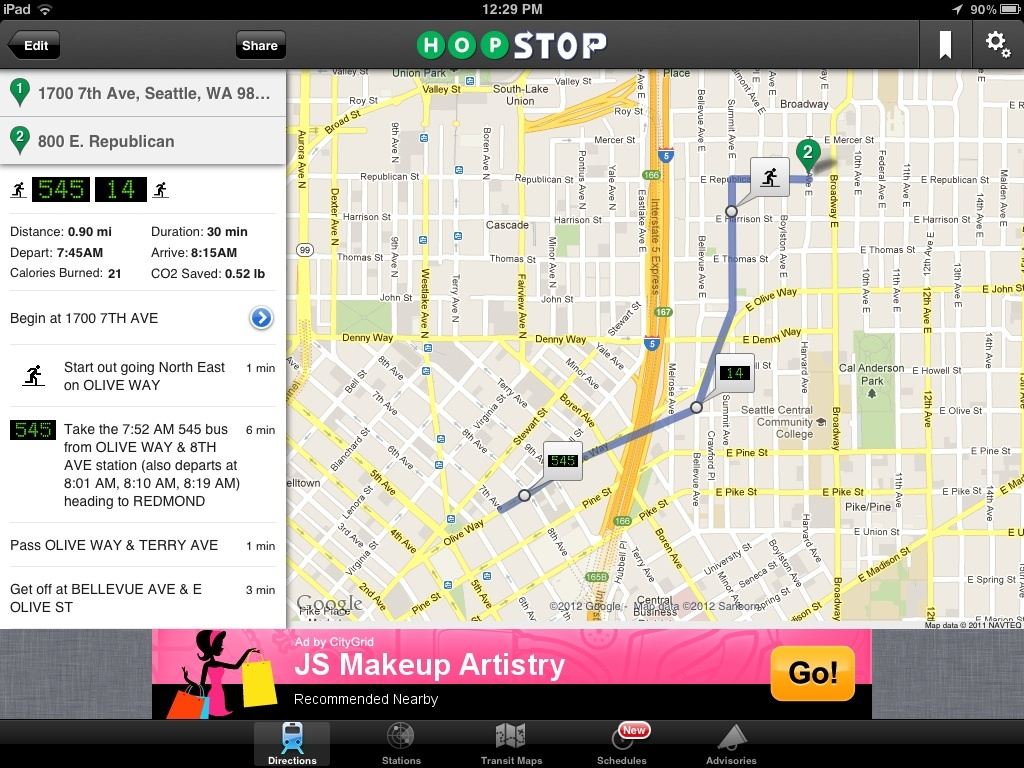 HopStop transit map and route directions