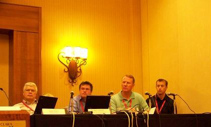 Micron and Intel (first and second from right, respectively) participated in a panel discussion at the Flash Memory Summit