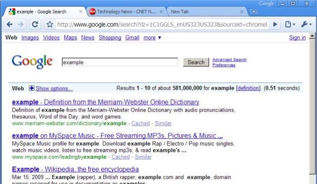 An example of Chrome's latest interface.