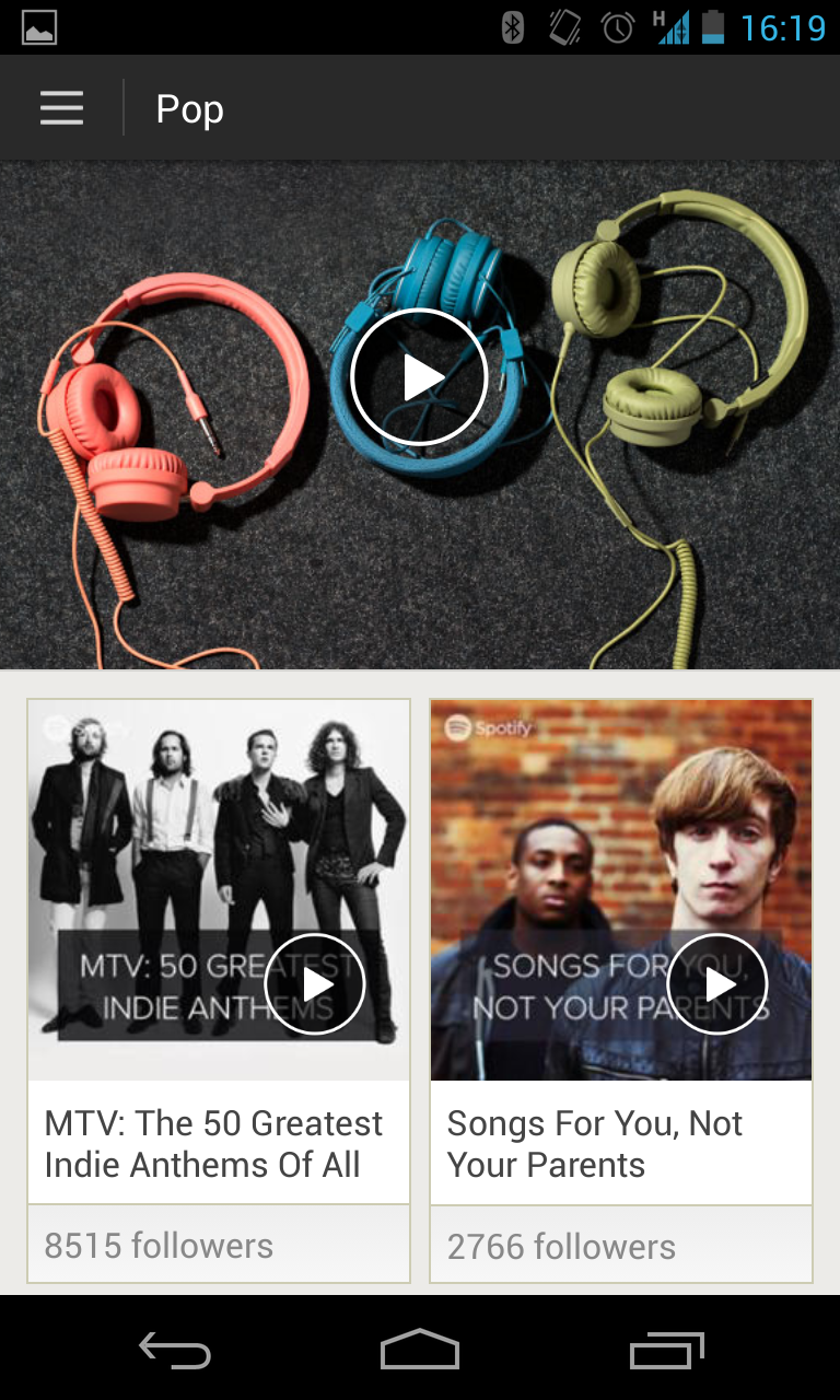 A screenshot of Spotify's browse on an Android phone