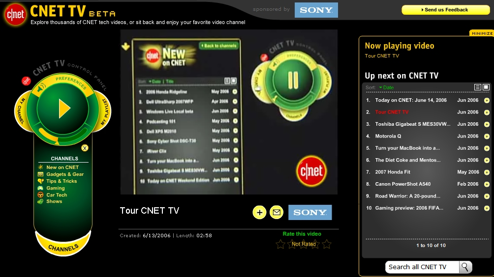 CNET TV, in beta form.