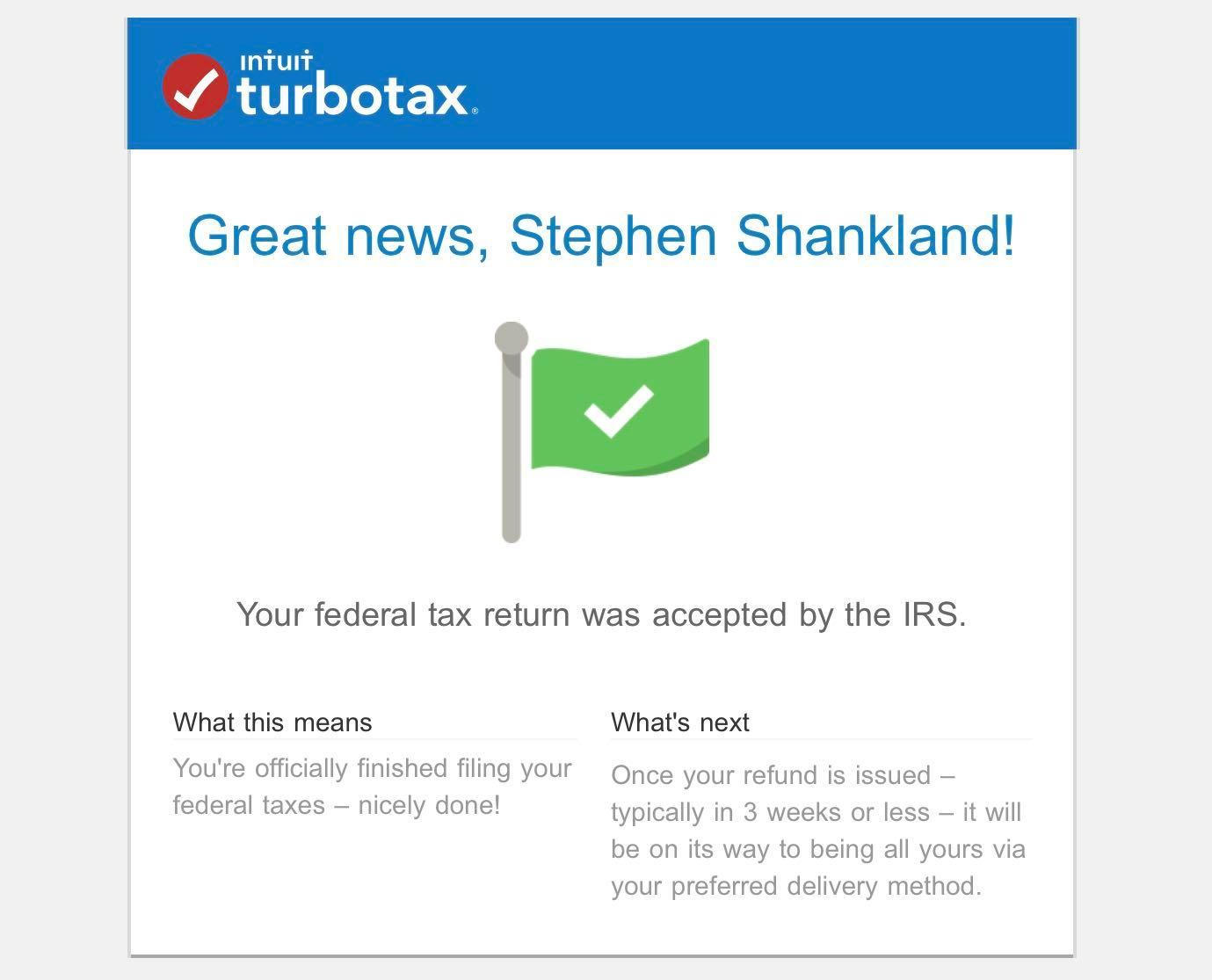 TurboTax tax complete notice
