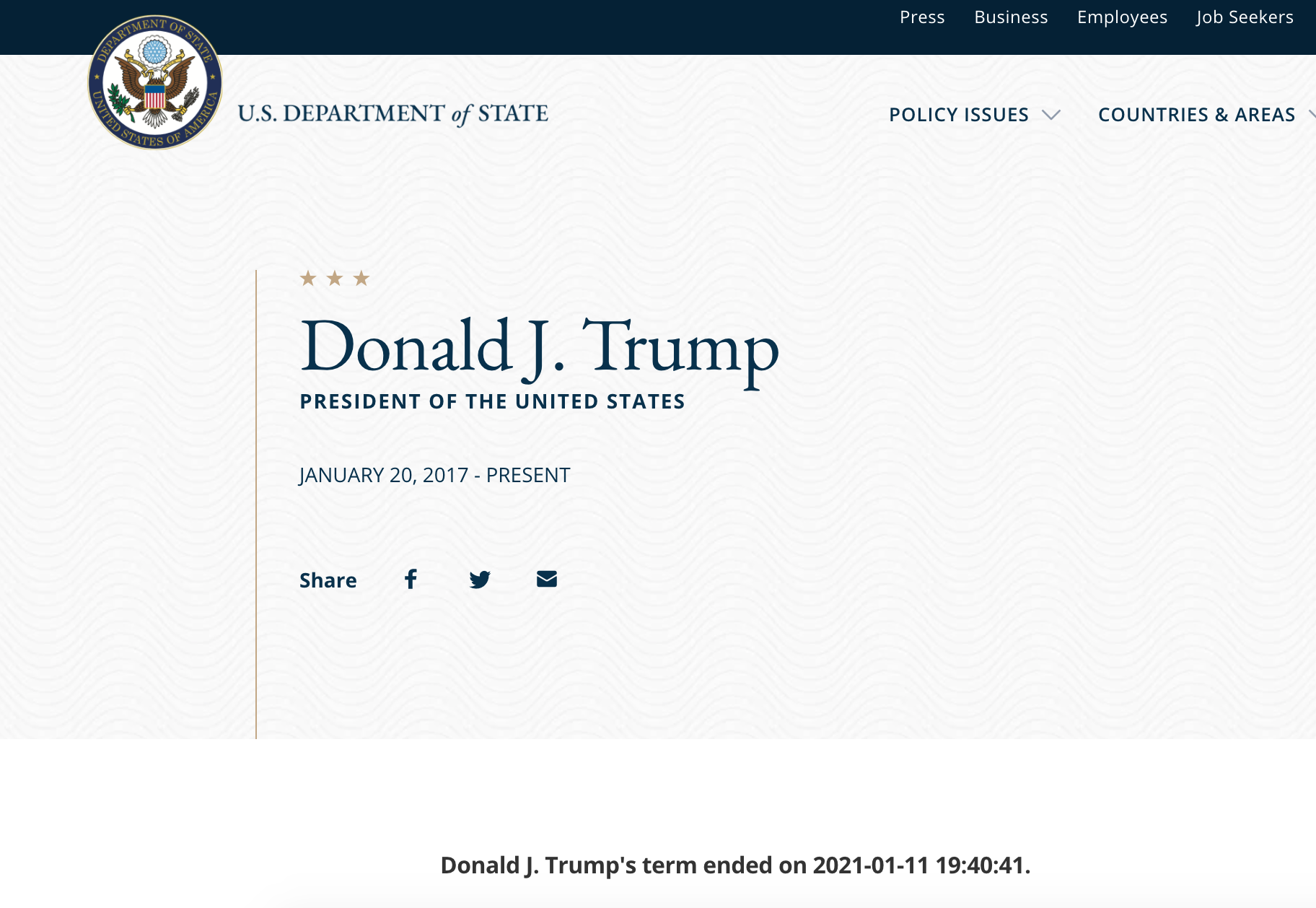 Donald Trump bio page on the State Department website
