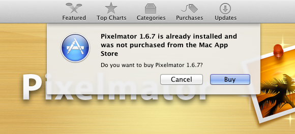 The new warning message that appears when trying to purchase an app from Apple that you got from somewhere else.