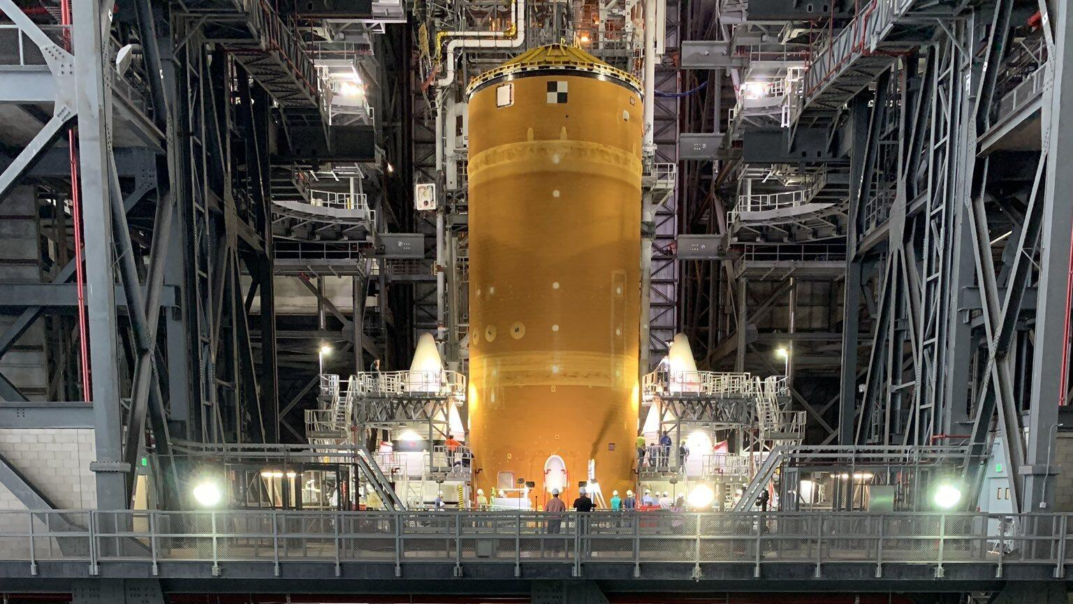 See NASA's bonkers-big moon rocket standing up, boosters and all - CNET