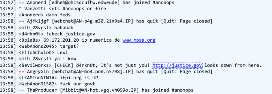 Anonymous supporters discuss targeting U.S. government Web sites in this screenshot of a chat session from today.