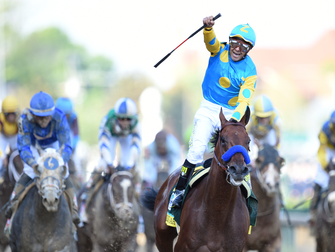 Eventual Triple Crown winner American Pharoah won last year's derby, with Victor Espinoza at the reins.