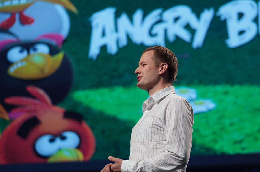 Mikael Hed, CEO of Angry Birds creator Rovio, speaks at Nokia World.