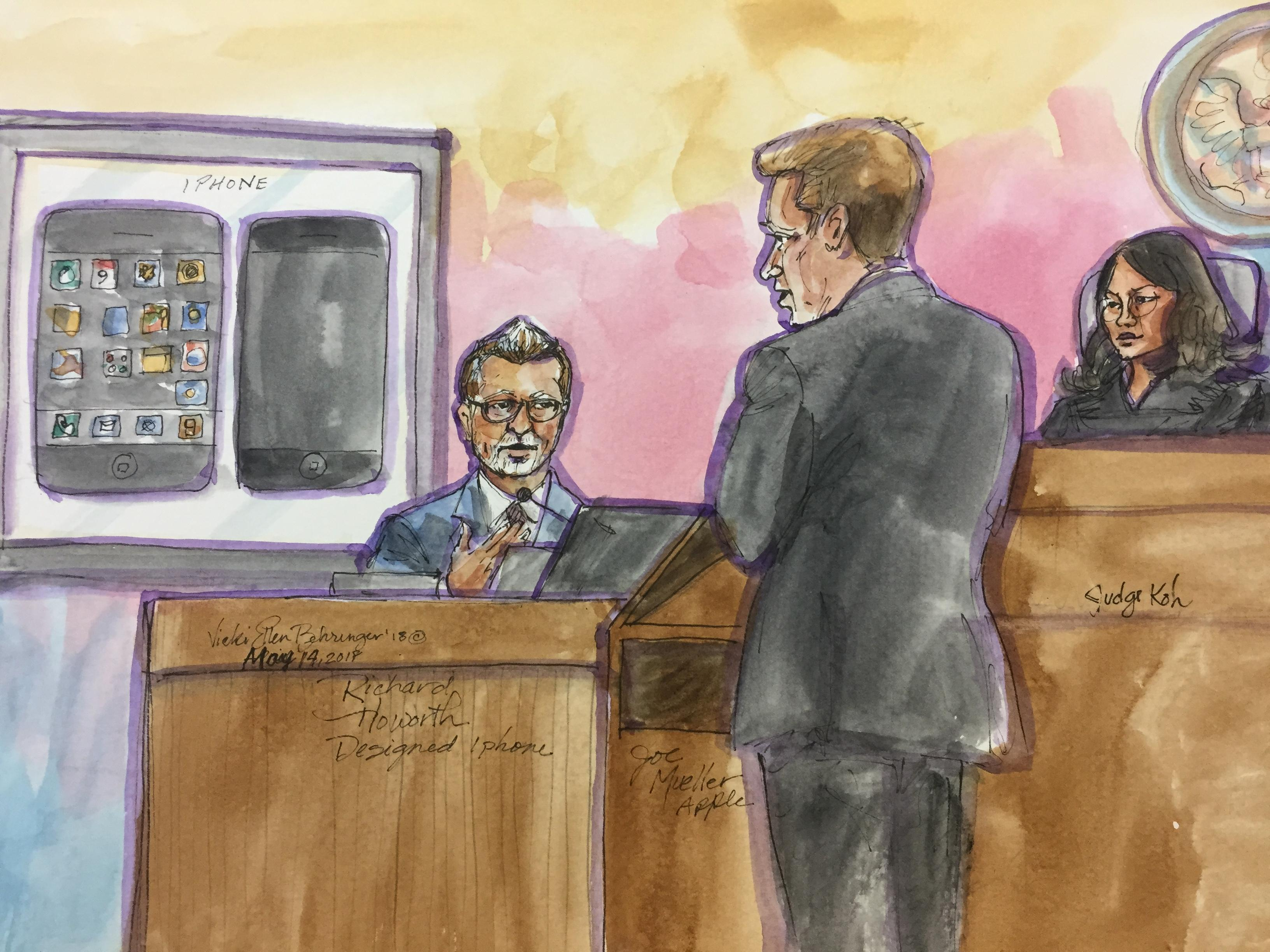 Richard Howarth, a senior director of Apple's design team, testifies about Apple iPhone patents, examined by Apple attorney Joe Mueller as US District Judge Lucy Koh looks on.