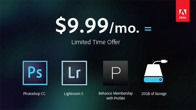 Adobe wants photography pros and enthusiasts to sign up for a subscription that bundles Lightroom, Photoshop, and some services for $10 a month. It's only for those who bought a license to CS3 or later, and the $10 price is a limited-time offer through the end of 2013.