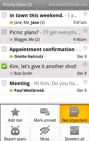 Android priority inbox for Gmail