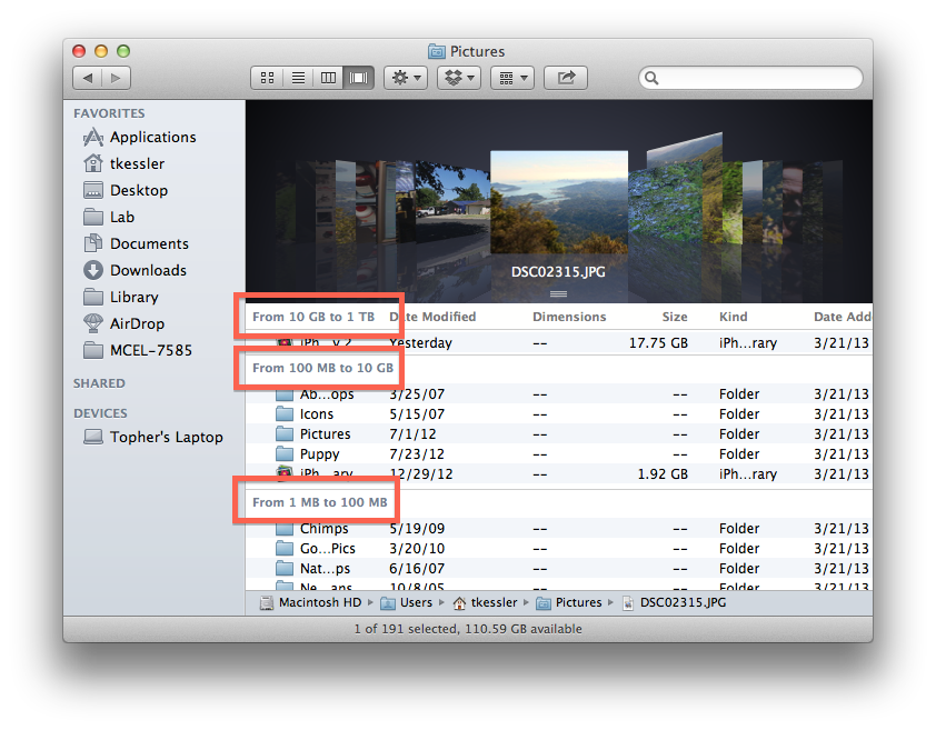 Arranging by size in OS X