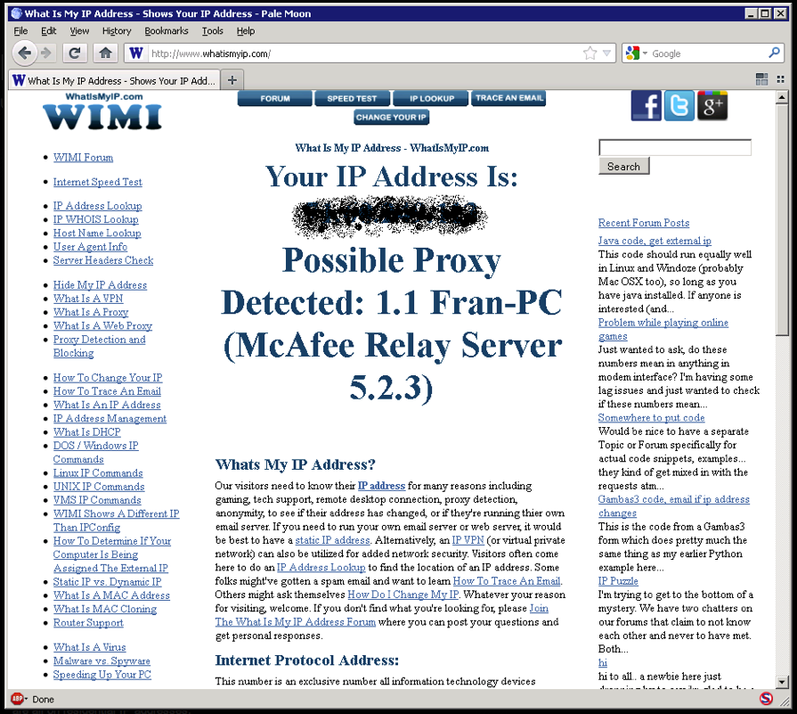 This screenshot shows the redacted IP address running an open proxy attributed to McAfee Relay Server.