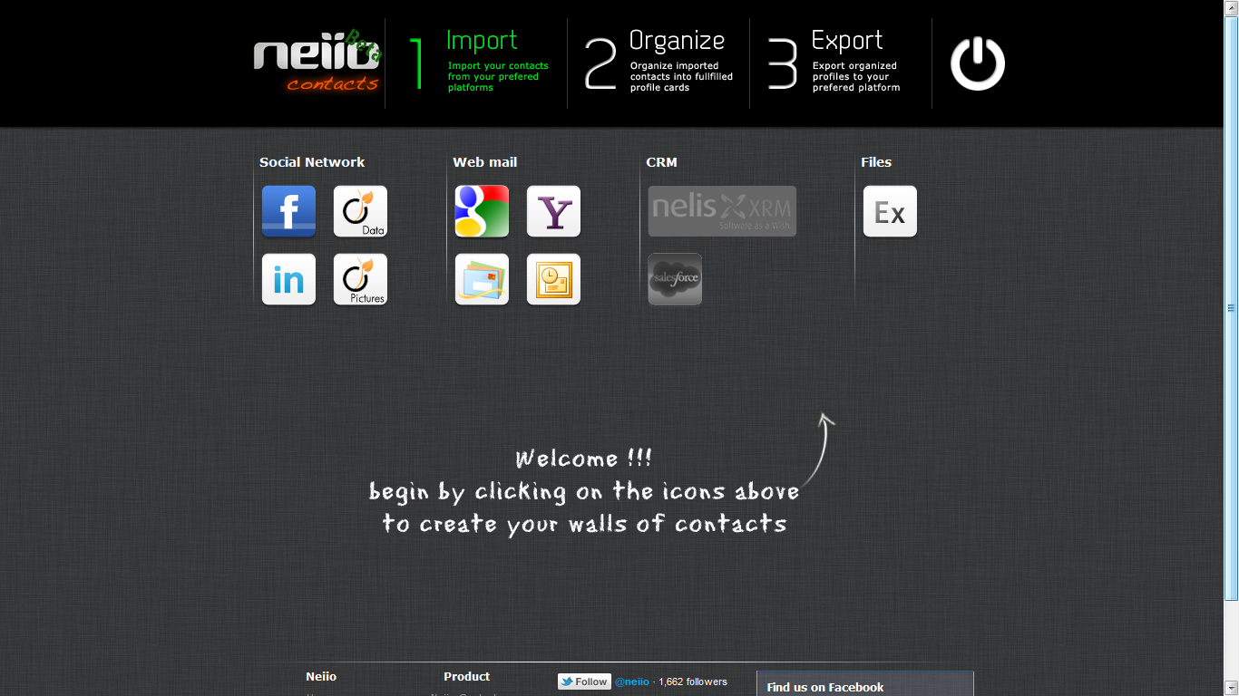 Step 2: Import contacts to Neiio.