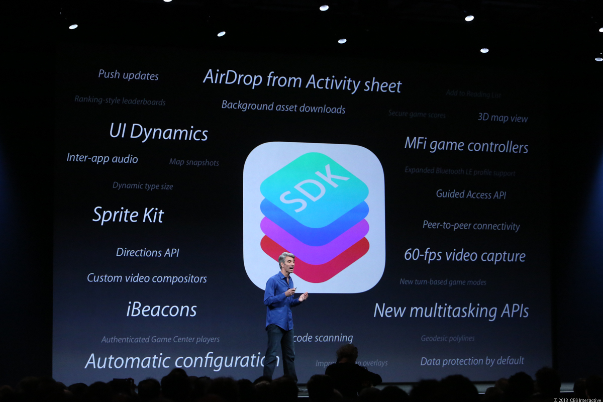 iOS 7 features slide from WWDC 2013