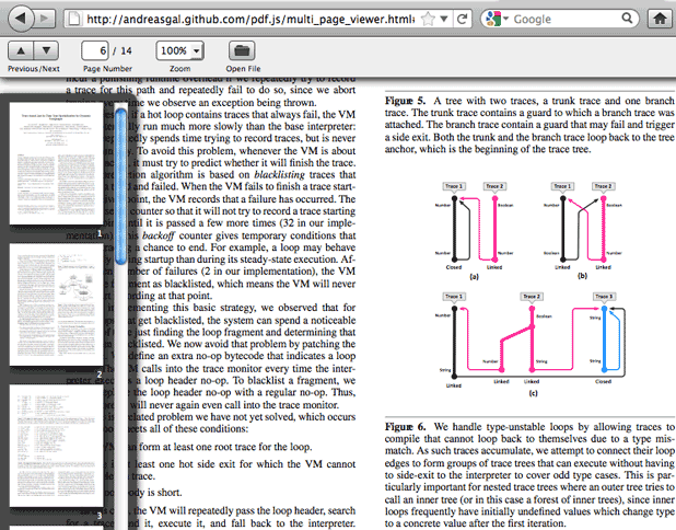 Mozilla's pdf.js software, which uses Web-based display technologies such as JavaScript and HTML5, now sports a multi-page scroll option on the left.