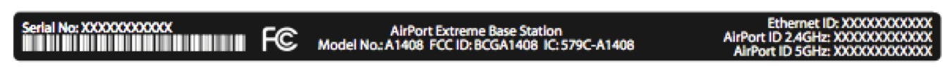 The label for the new AirPort Extreme Base Station.