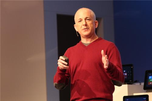 Microsoft's Steven Sinofsky discussing Windows 8 at Mobile World Congress in Barcelona.
