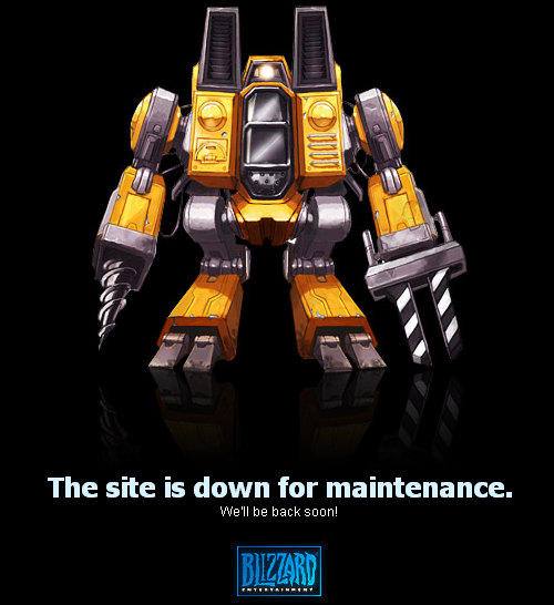 A yellow SCV unit warns you that the site is down for maintenance
