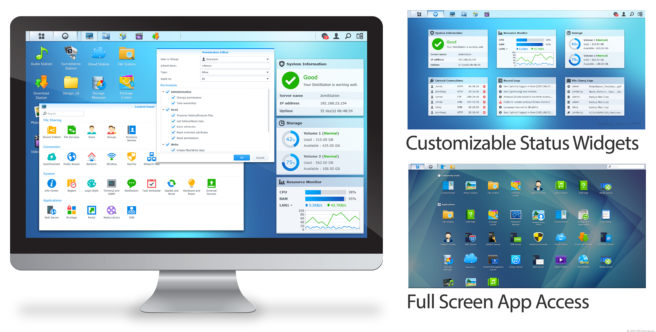 Version 5.0 of the DiskStation Manager operating system with a new, streamlined interface.