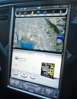 Tesla's mapping and music apps.
