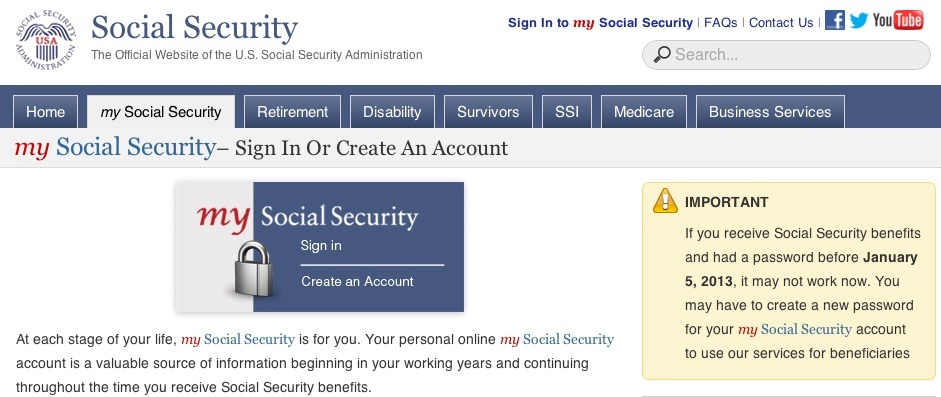 U.S. Social Security Administration My Social Security service
