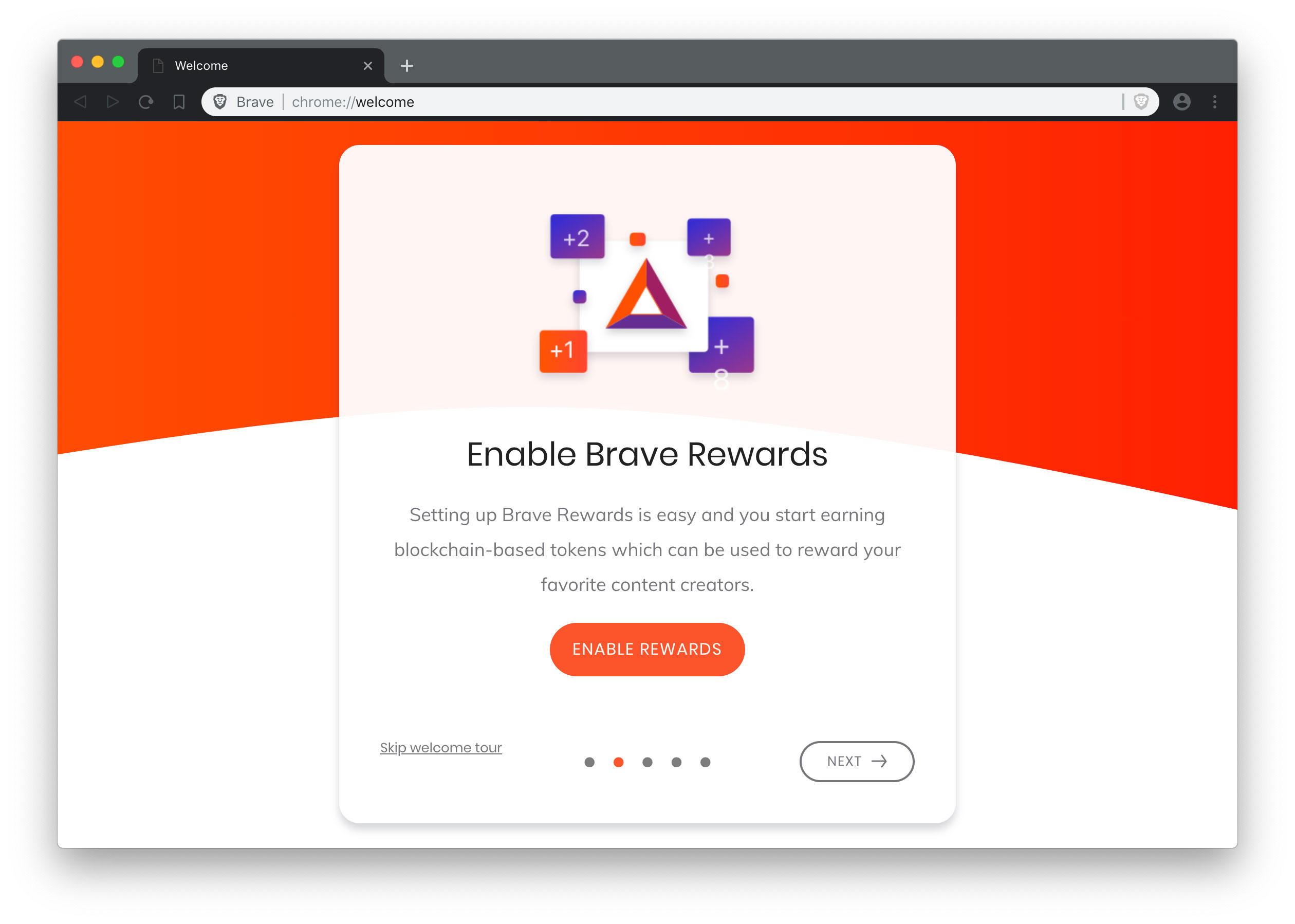 Brave Core inherits Chrome's new look, with curvy tabs and other interface elements.