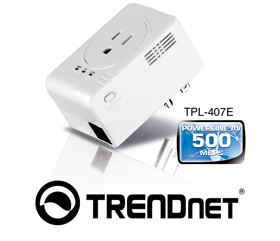 The new TPL-407E Powerline AV500 adapter from Trendnet is much smaller than its peers.