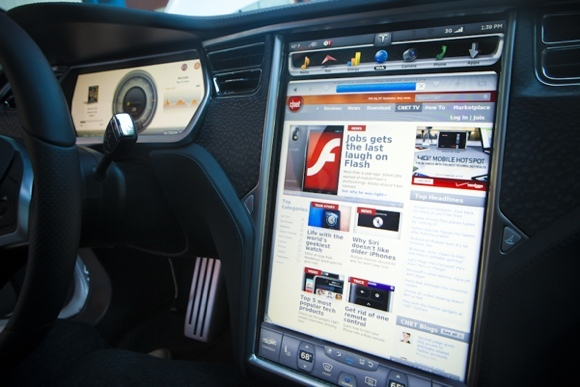 The Tesla S's touch-screen interface.