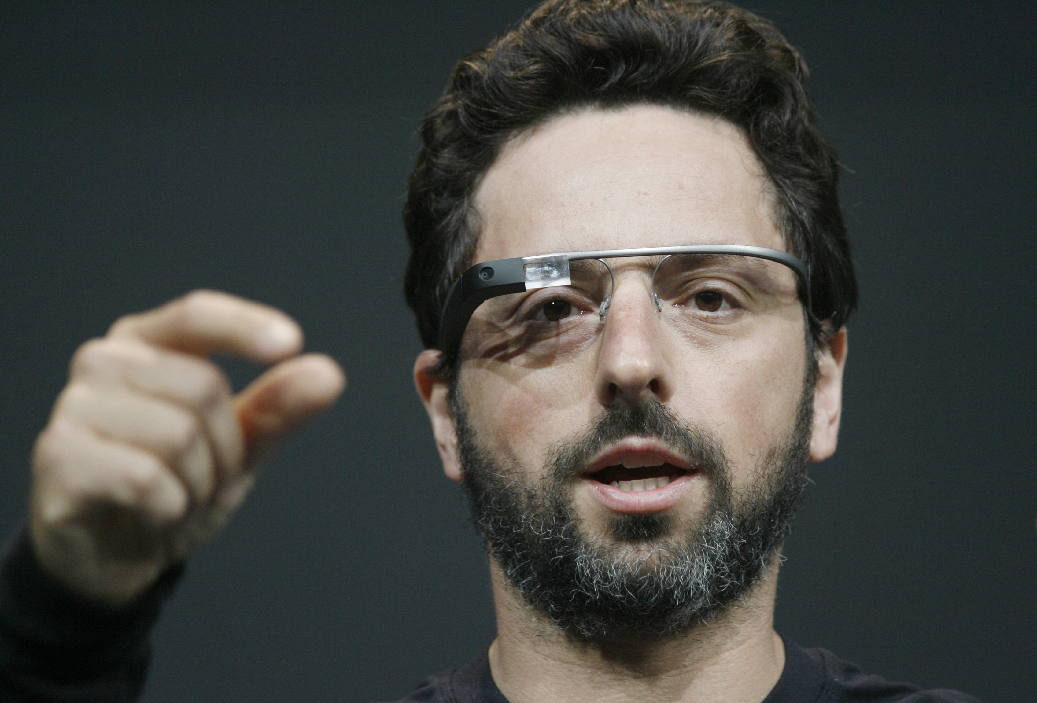 Google co-founder Sergey Brin introduces the Google Class Explorer edition during Google's annual developer conference, Google I/O, last year.