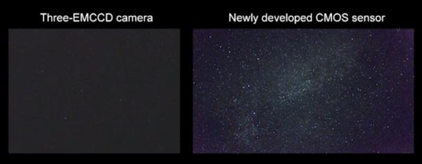 Stills from a video showing the Milky Way with a conventional three-sensor camera on the left and the high-sensitivity prototype on the right.