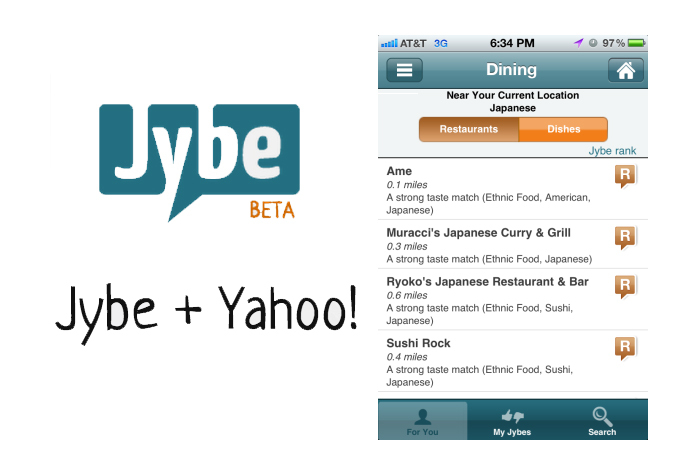 Jybe social recommendations