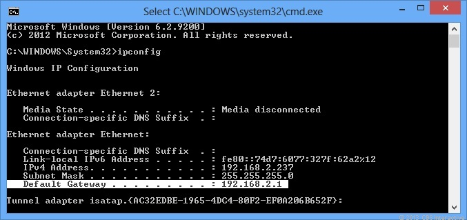 You can quickly find out the router's default address by using the ipconfig command on a Windows computer.