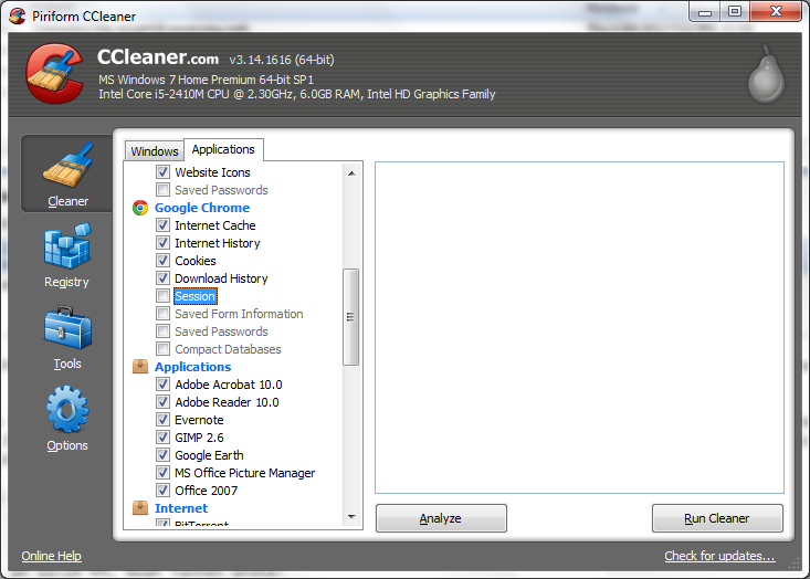 CCleaner in action.
