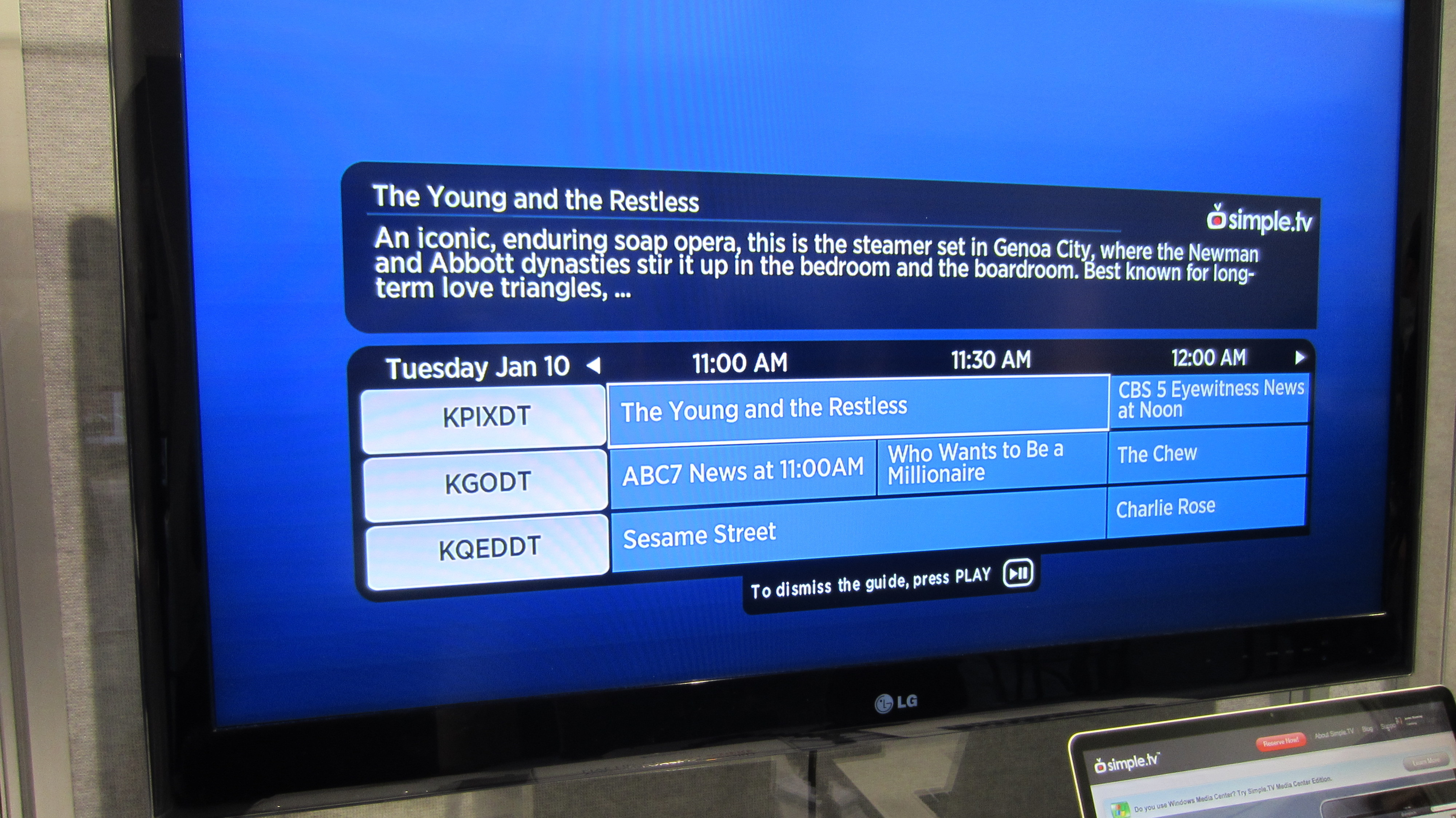The EPG interface on the Roku app.