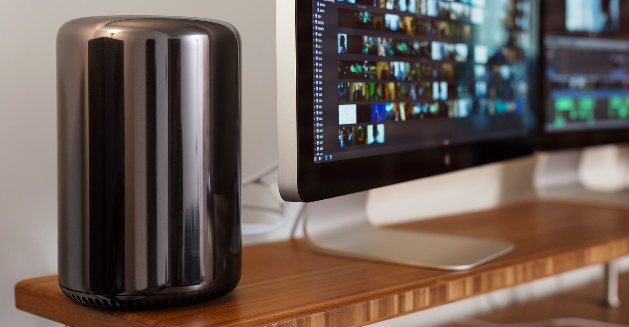 """Apple's cylindrical Mac Pro, which brought some style to the boxy world of workstations, is shown here running Final Cut Pro X to edit the movie """"Focus."""""""