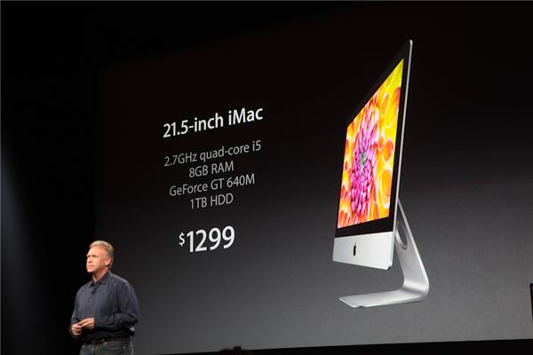 Apple executive Phil Schiller showing off the new iMac.