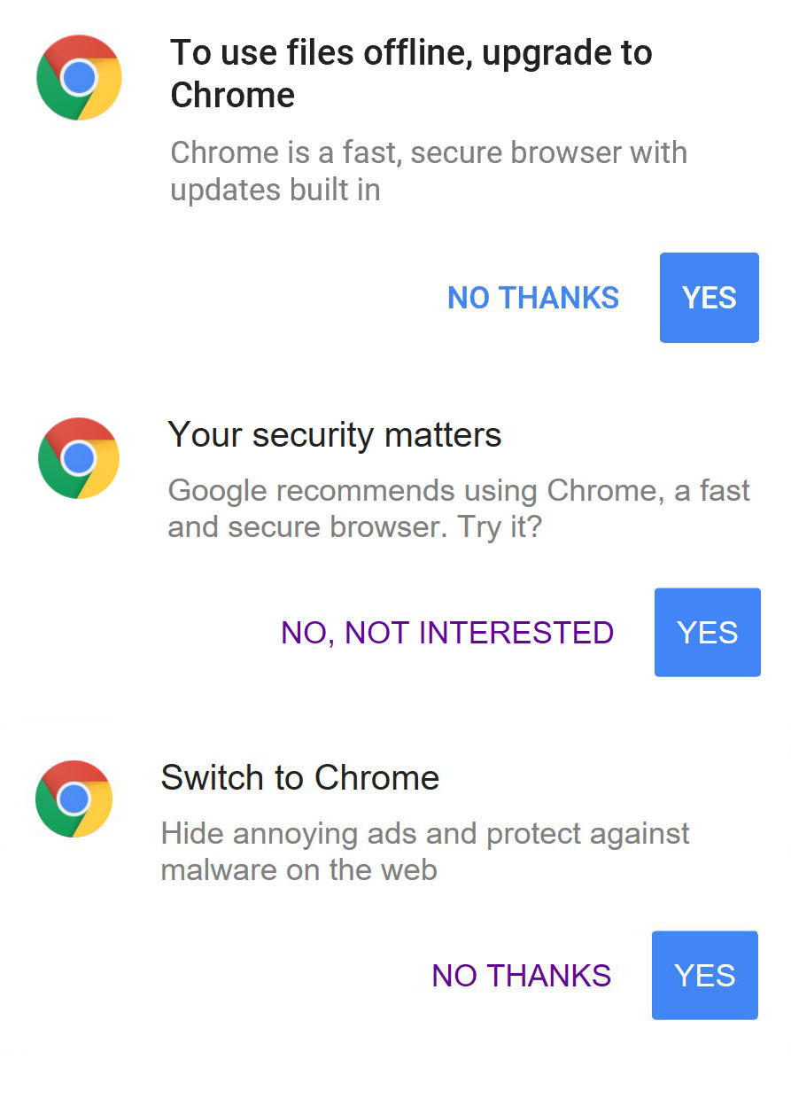"""The more you use non-Chrome browsers on Google websites, the more you'll see promotions exhorting you to switch. Clicking """"No thanks"""" only dismisses the pop-up until your next visit."""
