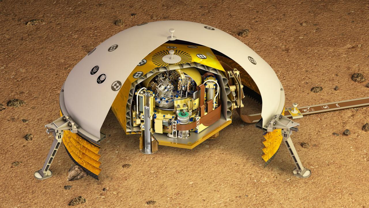 A cutaway of SEIS, a dome-shaped instrument that sits on the surface of Mars to record seismic activity.