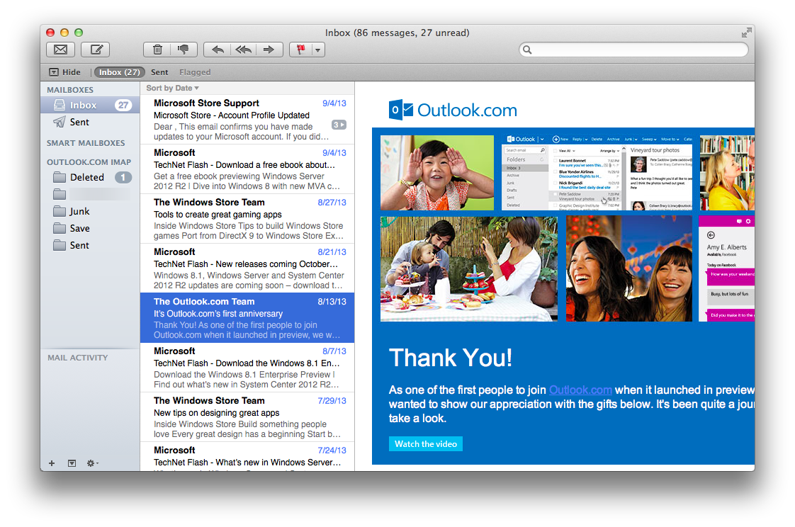 Outlook.com in Apple Mail